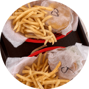 Riverside burger and fries